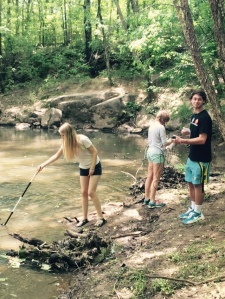 APES students sampling coddle creek.